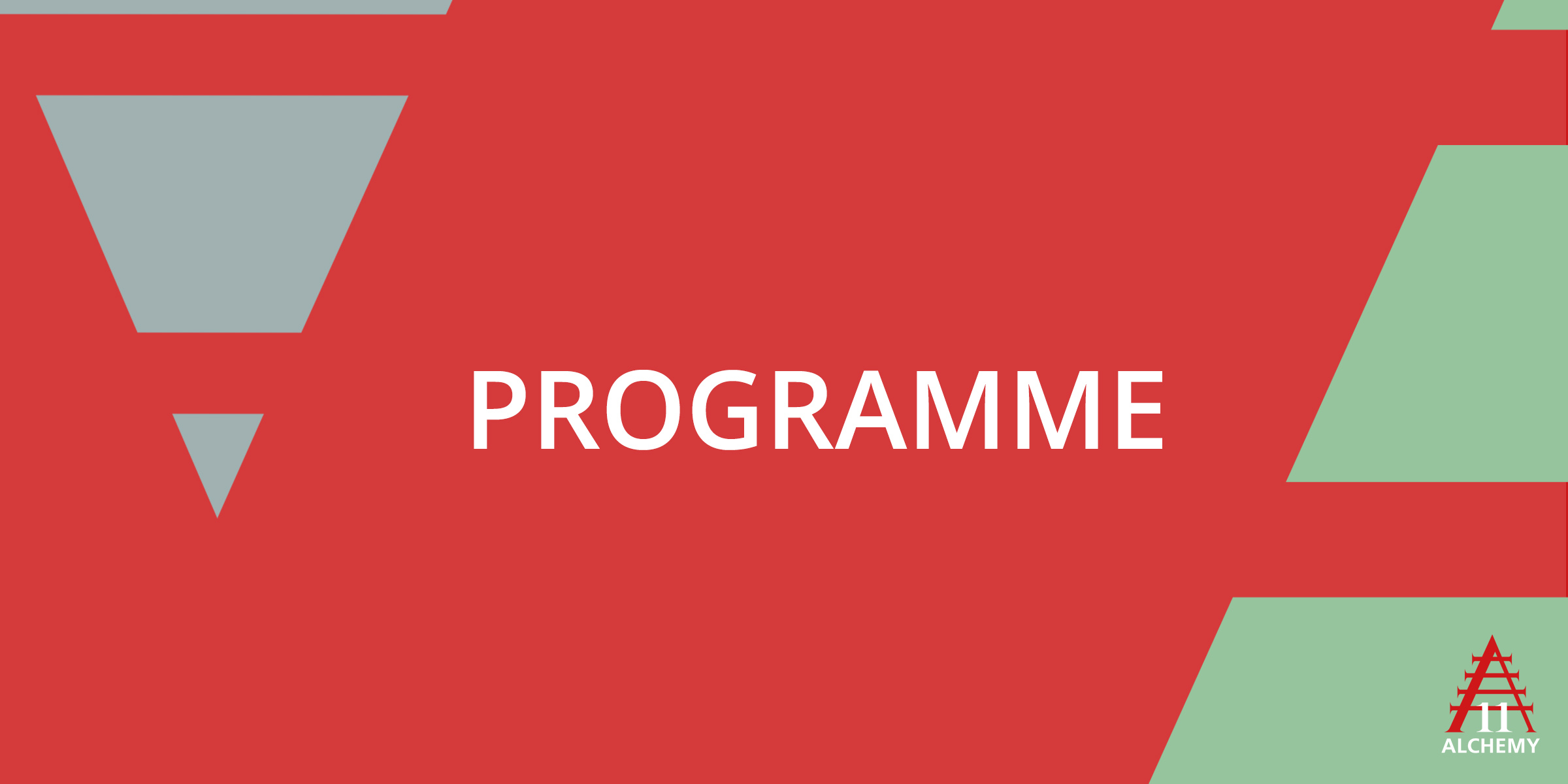 """Red banner bearing the word """"Programme"""""""
